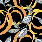 Lemon peel cut and twist. Citrus tree leaves, Botanical seamless pattern. Plant and fruit vegetal background in trendy flat style. Spiral ribbons. Textile and fabric design.