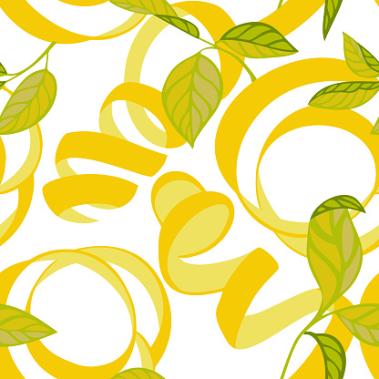 Nature botanical seamless pattern. Lemon peel cut and twist. Curved stripes and ribbons ornament.