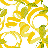 istock Nature botanical seamless pattern. Lemon peel cut and twist. Curved stripes and ribbons ornament. 1223366588