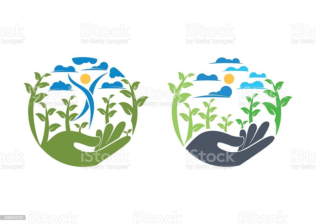 nature circle illustration hand trees logo symbol icon vector design vector art illustration