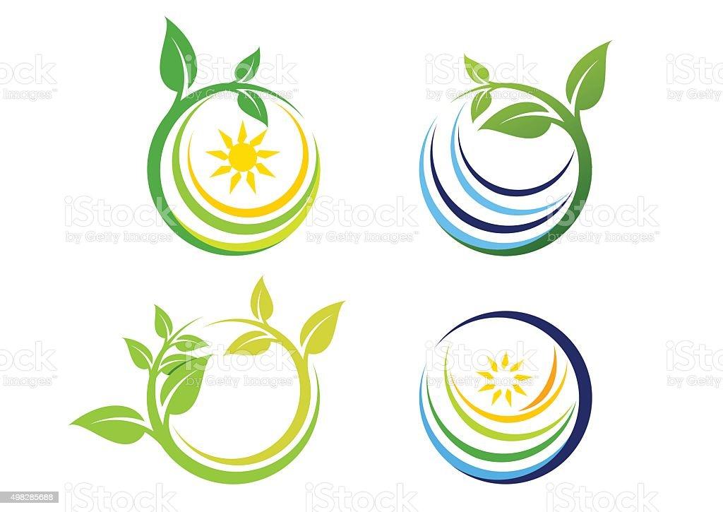 Naturaleza circle planta logotipo, naturaleza global símbolo icono vector diseño - ilustración de arte vectorial