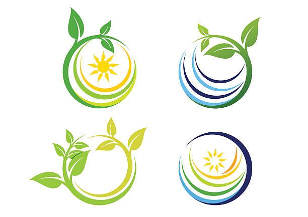 nature circle plant logo, global nature symbol icon vector design vector art illustration