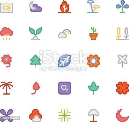 istock Nature Colored Vector Icons 5 666253068