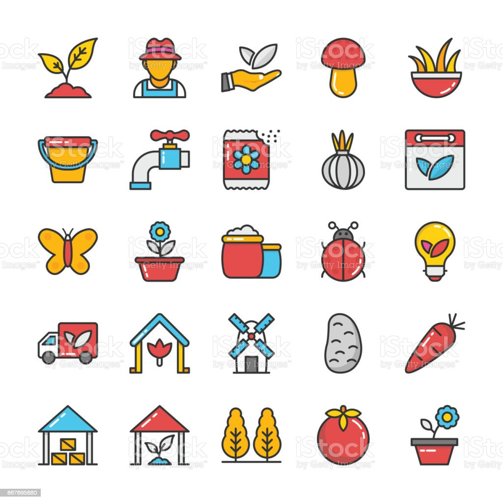 Nature Colored Vector Icons Set 4 vector art illustration