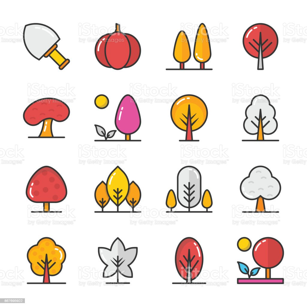 Nature Colored Vector Icons Set 7 vector art illustration