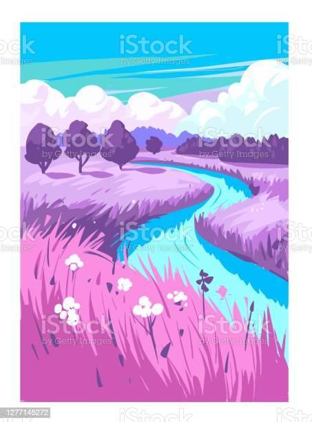 Nature Countryside Landscape Rural Vector Illustration Stock Illustration - Download Image Now