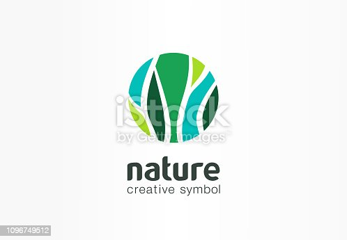 Nature creative symbol organic concept. Bio herbal health care abstract business eco pictogram. Fresh food, circle package, beauty flora, pharmacy icon. Corporate identity sign, company graphic design