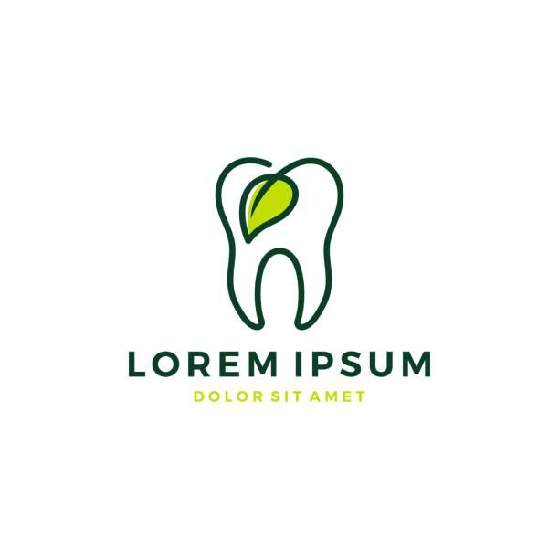 自然歯の葉の歯の歯の輪郭線ベクトルアイコン - 歯医者のロゴ点のイラスト素材/クリップアート素材/マンガ素材/アイコン素材