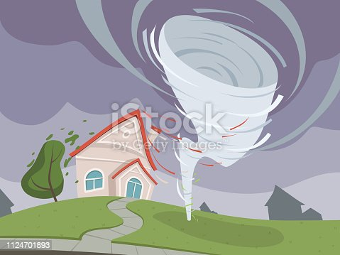 Nature disaster background. Weather environmental damage dramatic apocalypse vector cartoon. Storm hurricane and disaster, tornado and cyclone destruction illustration