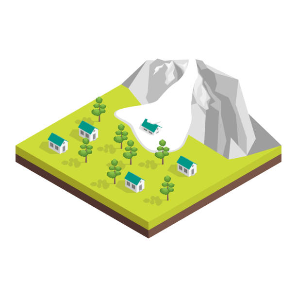 Nature Disaster Concept 3d Isometric View. Vector Nature Disaster Concept 3d Isometric View Include of Avalanche Snow. Vector illustration avalanche stock illustrations