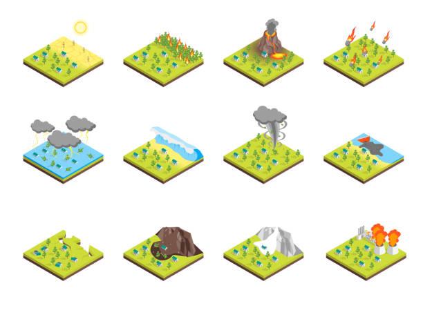 illustrations, cliparts, dessins animés et icônes de nature sinistre concept défini en 3d isométrique découvre. vector - desastre natural