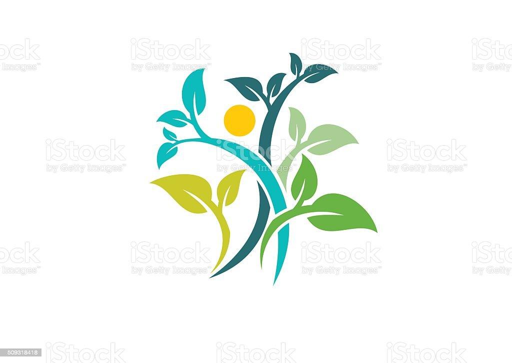 nature écologie logo, de bien-être et la santé des gens icône symbole vecteur conception - Illustration vectorielle