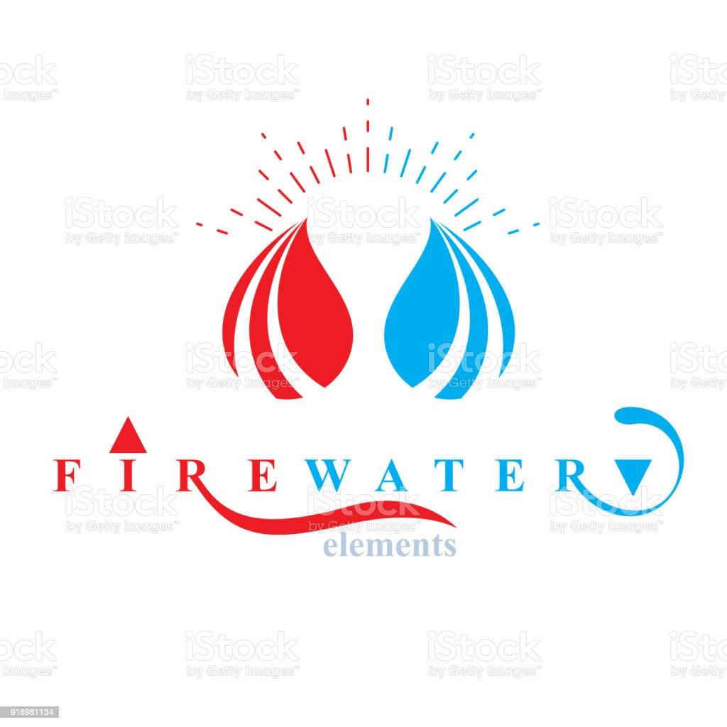 Nature elements balance conceptual emblem for use as marketing nature elements balance conceptual emblem for use as marketing design symbol fire and water harmony biocorpaavc Choice Image