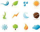 Vector natural elements icons set
