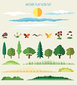Nature flat icons. Eco life flat signs. Vector illustration