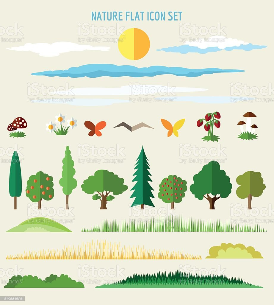Nature flat icons vector art illustration