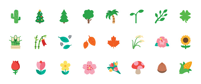 Nature, Floral Icons Vector Set. Trees, Flowers, Leaves Illustration Flat Style Cartoon Symbols, Emojis, Emoticons Collection