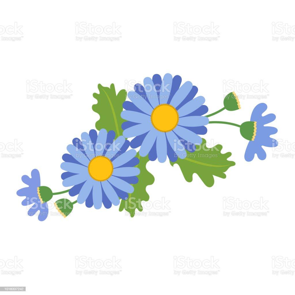 Naturaleza flor azul tipo Margarita, planta de hoja floral de jardín botánico de vector. - ilustración de arte vectorial