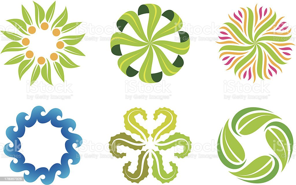 Nature flower decoration symbol and social green logo template vector art illustration
