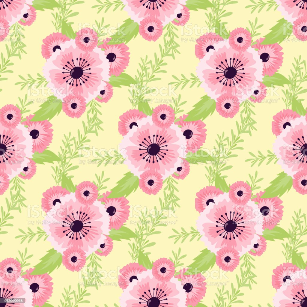 自然花のシームレスなパターン背景夏の花イラスト - お祝いのベクター