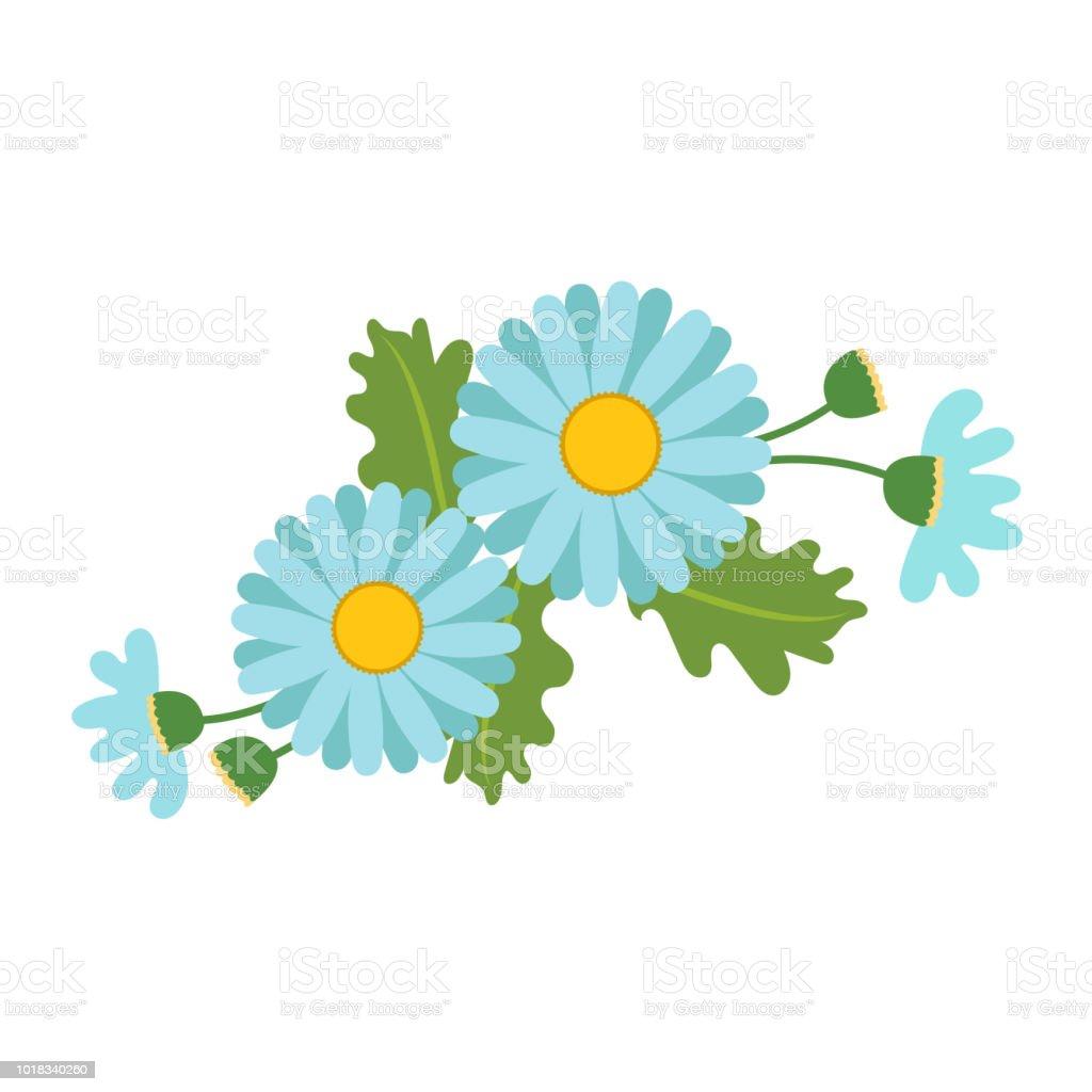 Naturaleza flor luz azul Margarita, planta de hoja floral de jardín botánico de vector. - ilustración de arte vectorial