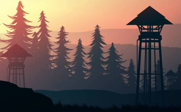 Nature forest Natural Pine forest mountains horizon. Landscape wallpaper. Sunrise and sunset. Illustration vector style colorful view background. Nature forest Natural Pine forest mountains horizon. Landscape wallpaper. Sunrise and sunset. Illustration vector style colorful view background. mountains in mist stock illustrations
