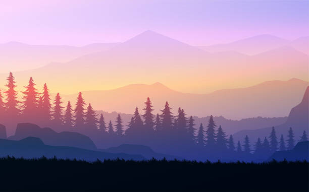 Nature forest Natural Pine forest mountains horizon Landscape wallpaper Mountains lake landscape silhouette tree sky Sunrise and sunset Illustration vector style colorful view background Nature forest Natural Pine forest mountains horizon Landscape wallpaper Mountains lake landscape silhouette tree sky Sunrise and sunset Illustration vector style colorful view background mountains in mist stock illustrations