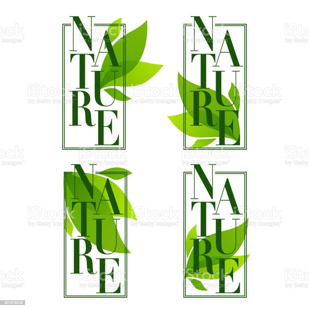 Marcos De Naturaleza Emblemas De Hojas Orgánicas Pegatinas Y Logo En ...