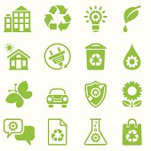 Set of 16 environmental friendly  green icons on white. Large JPEG (2800x2800), layered AI EPS 8. Archive: 1) screensize JPEG, 2) large 300 dpi layered PSD, large PNG , 3) AI 7. No gradients used.