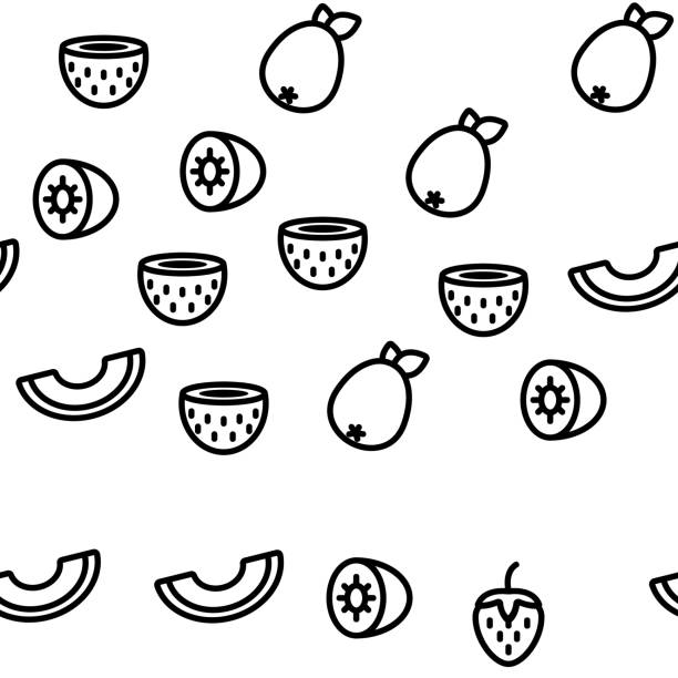 Nature Fruit Vector Seamless Pattern Nature Fruit Vector Seamless Pattern Thin Line Illustration avocado patterns stock illustrations