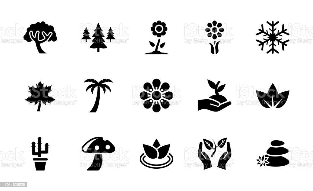Colección de iconos de glifo de naturaleza - ilustración de arte vectorial