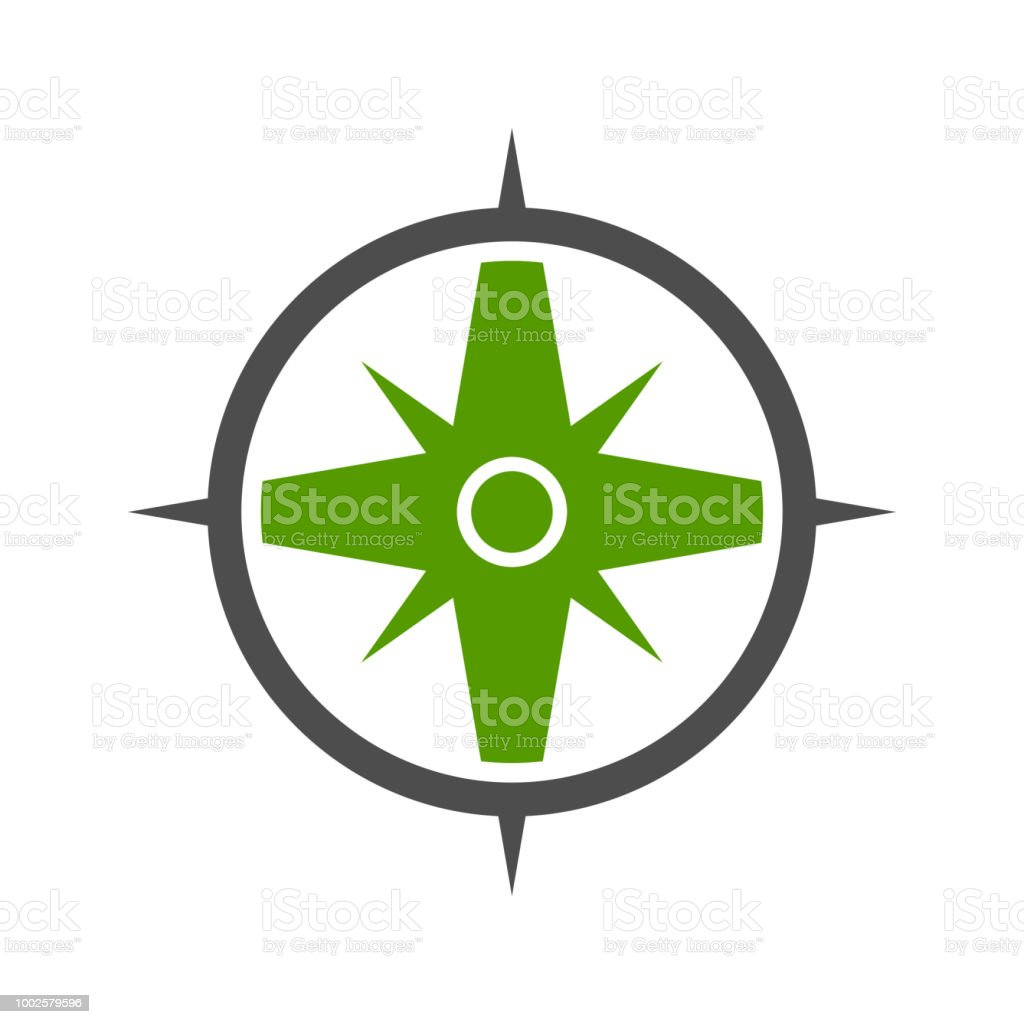Nature Green Compass Symbol Design Stock Vector Art More Images Of