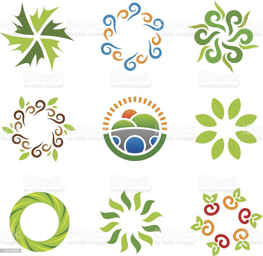 Nature green eco system beautiful wild landscape energy logo icons vector art illustration