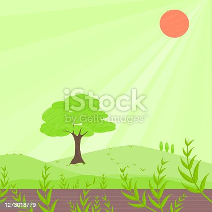 istock Nature green field landscape countryside with trees, plants leaf, hills and sun with abstract background texture vector illustration wallpaper scenery art graphic design 1273018779