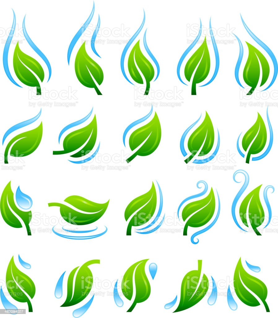 Nature green leaves with blue water vector icon set vector art illustration