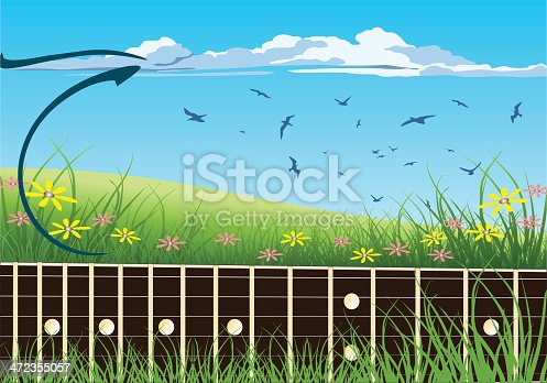 Guitar Fretboard on Green Nature Background. Zip includes CDR, AI and high-res JPEG files.