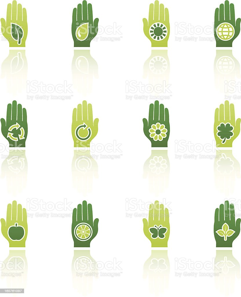nature hand symbols set royalty-free stock vector art