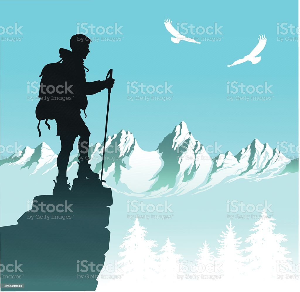 Nature Hiker With Mountain Range and Eagles vector art illustration
