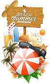 drawing of vector summer holiday materials. Created by illustrator cs6. This file of transparent.