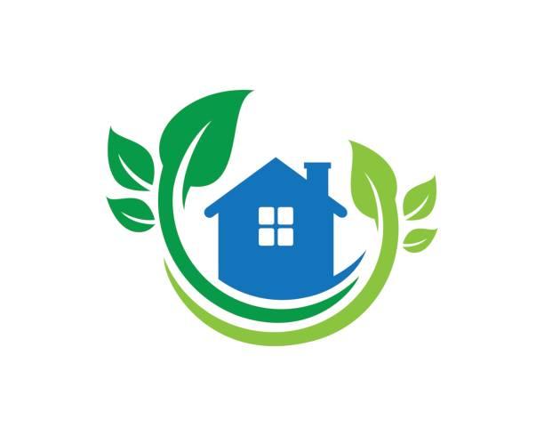ilustrações, clipart, desenhos animados e ícones de natureza símbolo de casa modelo vector design, emblema, conceito, símbolo criativo, ícone de design - trabalhador em casa