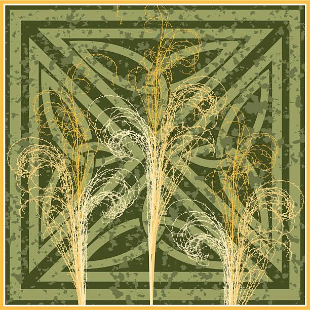 illustrazioni stock, clip art, cartoni animati e icone di tendenza di natura icona-zebra erba design decorativo - miscanthus sinensis