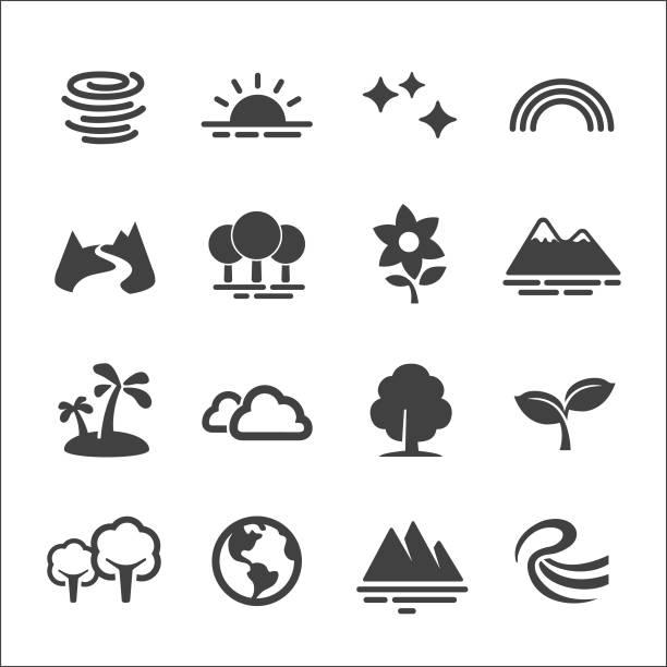 stockillustraties, clipart, cartoons en iconen met natuur icons set - acme serie - bloemen storm