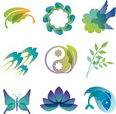 Colorful and transparent Vector icons of nature and life
