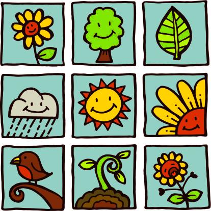 Nature Icons Stockvectorkunst en meer beelden van Antropomorfische smiley