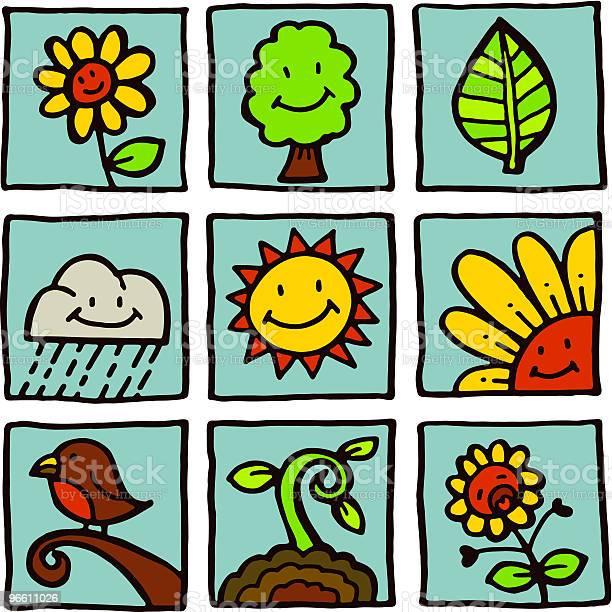 Nature Icons-vektorgrafik och fler bilder på Antropomorfistiskt smileyansikte