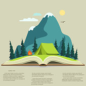 Nature landscape in opened book, camping graphics,  outdoor traveling illustration,  summertime adventure. Vector