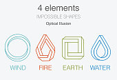 Nature infographic elements on dark background. Impossible shapes and optical illusion. Line symbols with air, fire, earth,water. Alternative energy sources and eco logo.