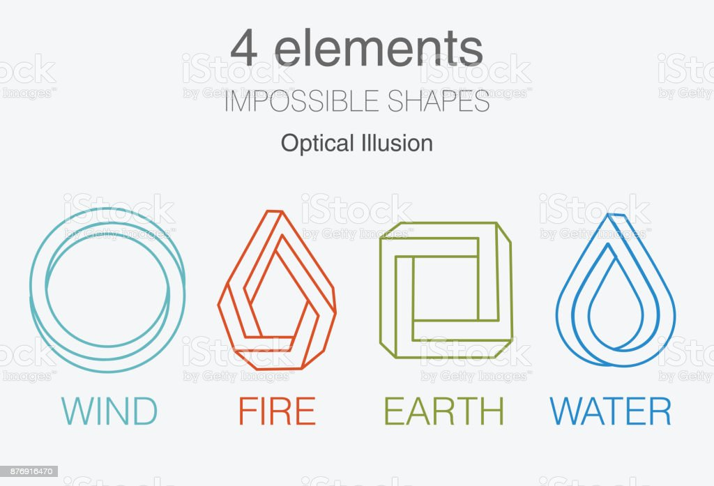 Nature infographic elements on dark background. Impossible shapes and optical illusion. Line symbols with air, fire, earth,water. Alternative energy sources and eco logo. vector art illustration