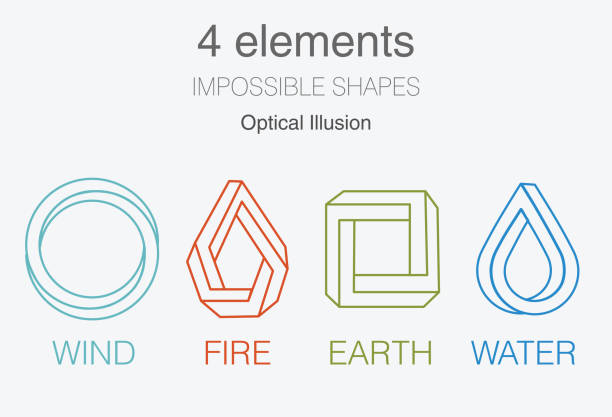 nature infographic elements on dark background. impossible shapes and optical illusion. line symbols with air, fire, earth,water. alternative energy sources and eco logo. - cztery żywioły stock illustrations