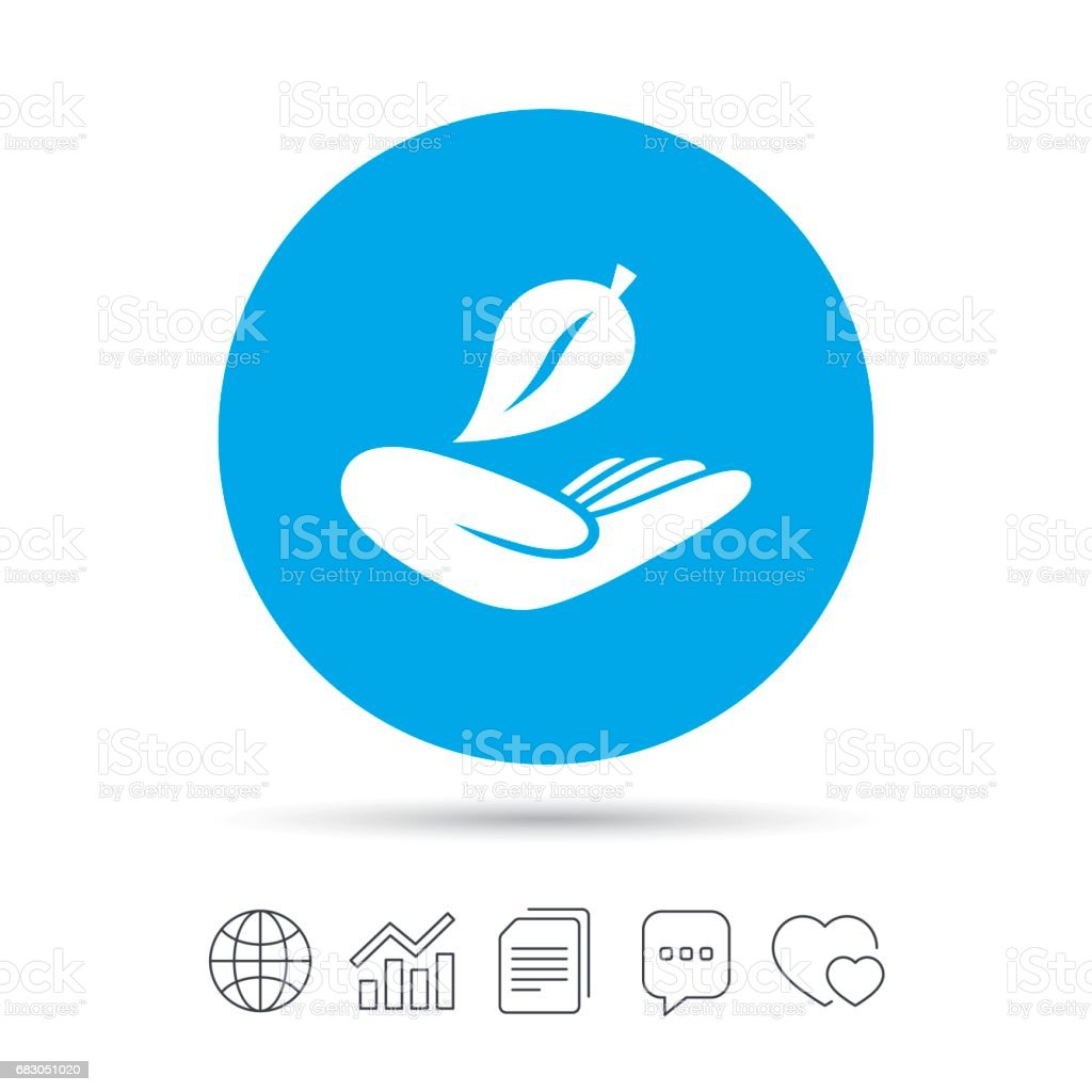 Nature insurance sign. Hand holds leaf symbol. nature insurance sign hand holds leaf symbol - arte vetorial de stock e mais imagens de aplicação móvel royalty-free